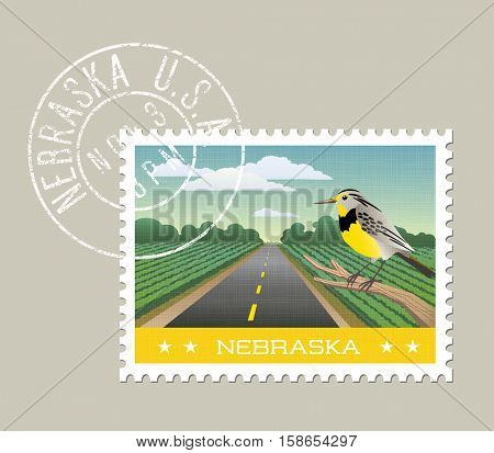 Nebraska postage stamp design.  Vector illustration of scenic farmland and Meadowlark. Grunge postmark on separate layer