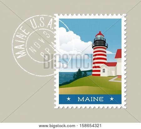 Maine postage stamp design. Vector illustration of lighthouse and Atlantic coast. grunge postmark on separate layer
