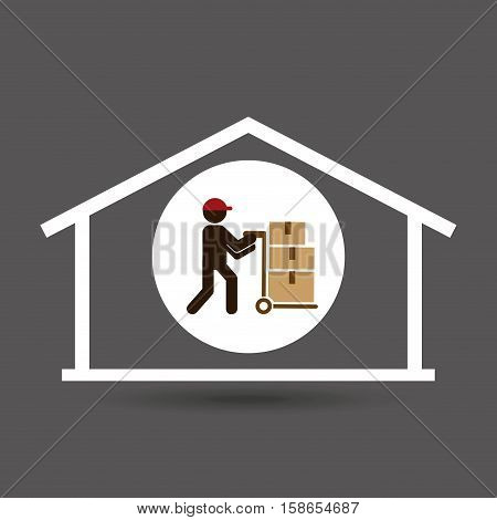 silhouette worker trolley box storage vector illustration eps 10