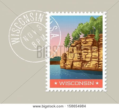 Wisconsin postage stamp design.  Vector illustration of cliffs overlooking Wisconsin River. Grunge postmark on separate layer