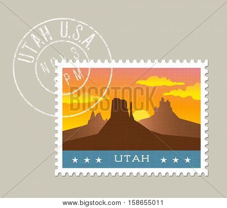 Utah postage stamp design.  Vector illustration of monument valley at sunset. Grunge postmark on separate layer