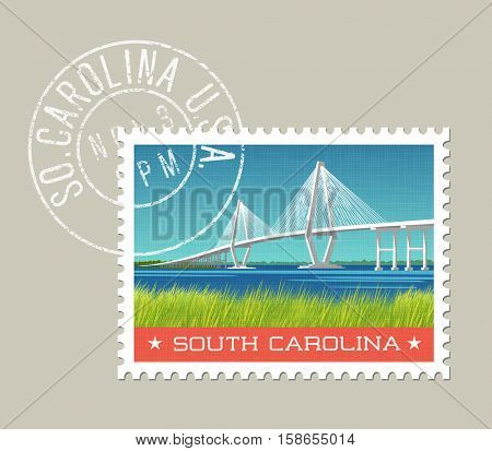 South Carolina postage stamp design.  Vector illustration of coastal landscape with bridge. Grunge postmark on separate layer