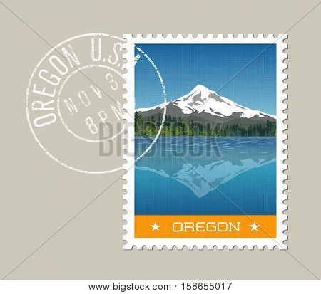 Oregon, postage stamp design.  Vector illustration of Mt. Hood behind lake with reflection. Grunge postmark on separate layer