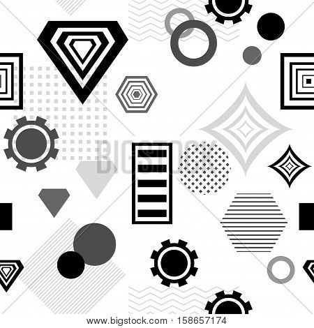 Abstract seamless pattern from geometric form in postmodern Memphis Style black  grey on white for wallpaper or package or for clothes for decoration childish school subject or for creative design