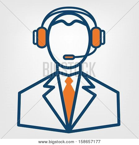 Call center support vector sign man in handsfree headphones icon
