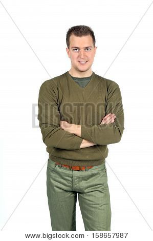 Successful smiling man a gesture of crossed hands on a breast isolated on white studio background