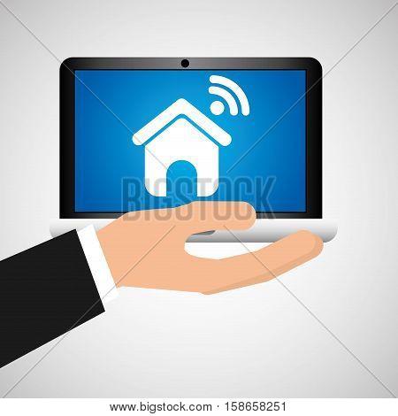 man hand holds laptop mobile homepage social media vector illustration