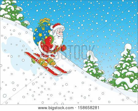 Santa Claus skiing down the snow hill with his big bag of Christmas presents