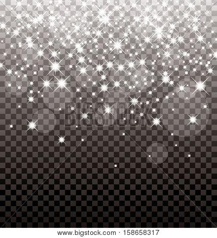 Vector sparkles white symbols on the dark background - star glitter, transparency stellar flare. Shining reflections. Glittering edge.