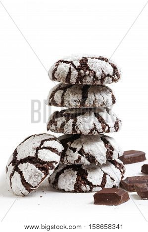 Homemade Chocolate Crinkles Cookies Powdered Sugar