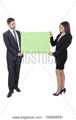 Businesswoman And Businessman Keeping Signboard