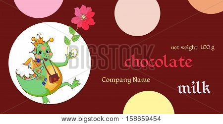 Vector handmade chocolate packaging design. Template with fairy green dragon. Chinese year of the Dragon.