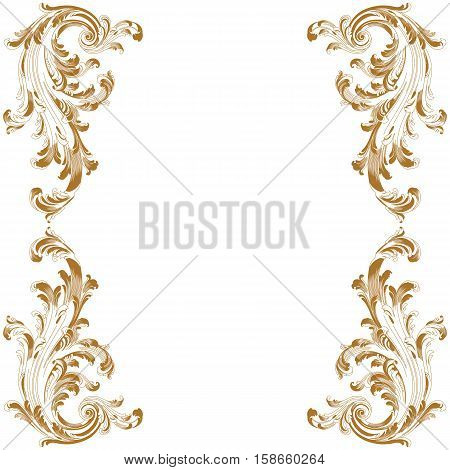 Golden vintage frame pattern, border frame pattern, engraving frame pattern, ornament  frame pattern, pattern frame, antique frame pattern, baroque frame pattern, decorative frame pattern. Vector.