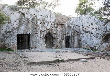 prison of philosopher Socrates, athens, greece, acropolis