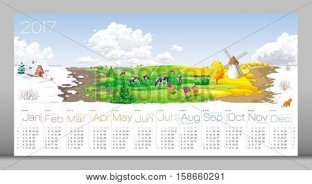 Calendar 2017 - all the year round - four seasons (winter spring summer autumn) and 12 months of the year (with calendar grid on 2017) at a rural panorama with fields cows windmill and apiary