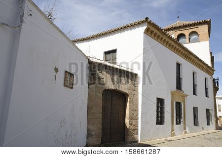 White building in the city of Ronda Andalusia Spain