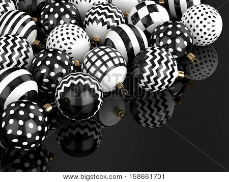 3D Rendering Of Christmas Baubles Over Black Background