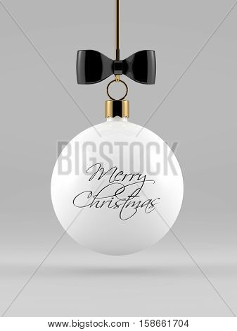 3D Rendering Of Christmas Bauble Over Gray Background