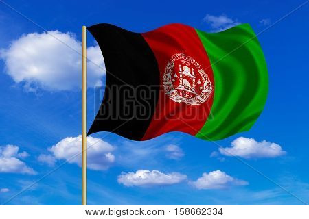 Afghan national official flag. Patriotic symbol banner element background. Correct colors. Flag of Afghanistan on flagpole waving in the wind blue sky background. Fabric texture. 3D rendered illustration