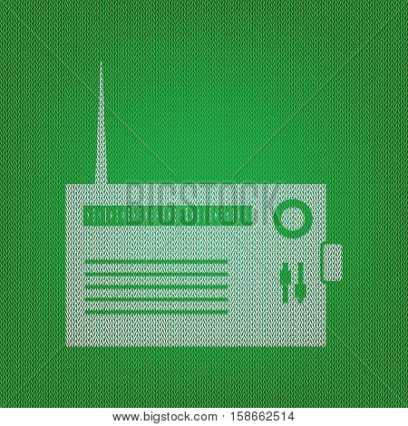 Radio Sign Illustration. White Icon On The Green Knitwear Or Woo