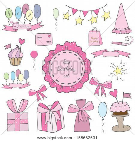 Big Birthday set elements with cake and gift balloon and ribbon letter ad star and other.