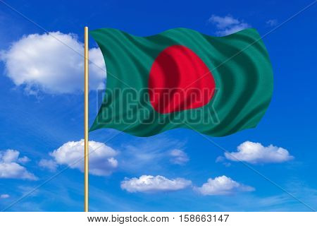 Bangladeshi national official flag. Patriotic symbol banner element background. Correct colors. Flag of Bangladesh on flagpole waving in the wind blue sky background. Fabric texture. 3D rendered illustration
