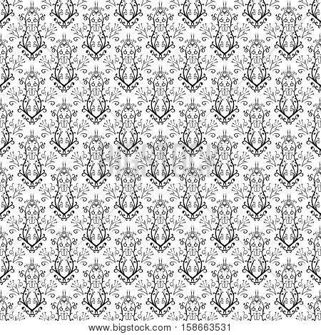 Abstract floral black and white seamless hand drawn pattern vector illustration