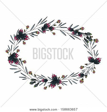 vector round frame with flowers, which can be used in invitations, postcards and flyers