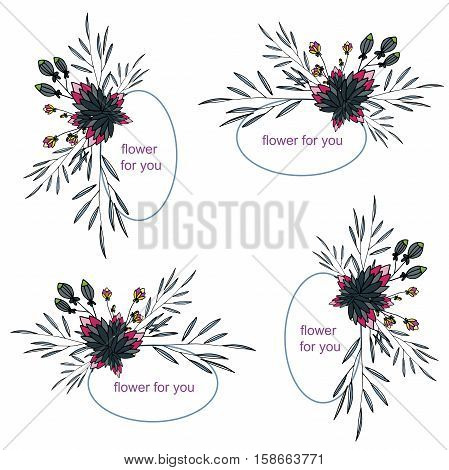 four vector flower frame for you cards and logo