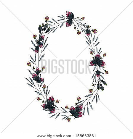 vector round frame with flowers, which can be used in invitations and postcards