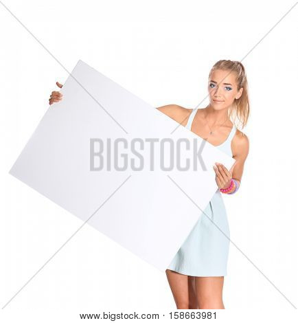 Young woman with blank board banner, isolated on white background