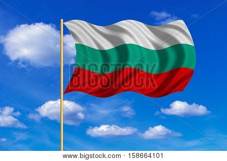 Bulgarian national official flag. Patriotic symbol banner element background. Correct colors. Flag of Bulgaria on flagpole waving in the wind blue sky background. Fabric texture. 3D rendered illustration