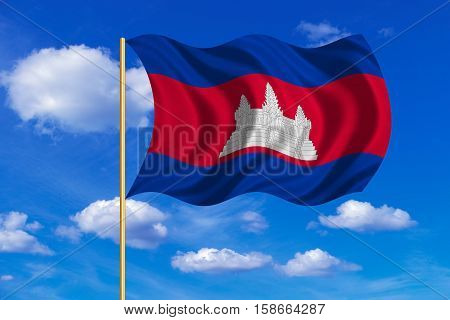 Cambodian national official flag. Patriotic symbol banner element background. Correct colors. Flag of Cambodia on flagpole waving in the wind blue sky background. Fabric texture. 3D rendered illustration