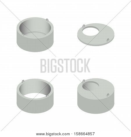 Set the iron concrete rings for wells in an isometric style isolated on white background. Design elements for the construction and reconstruction vector illustration.