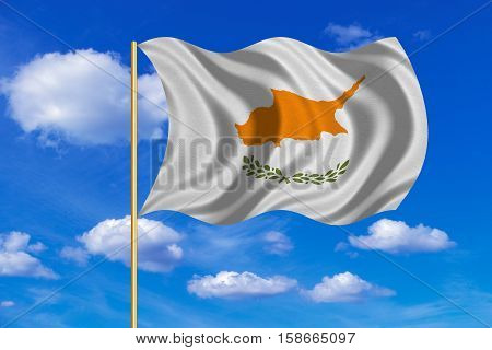 Cypriot national official flag. Patriotic symbol banner element background. Correct colors. Flag of Cyprus on flagpole waving in the wind blue sky background. Fabric texture. 3D rendered illustration