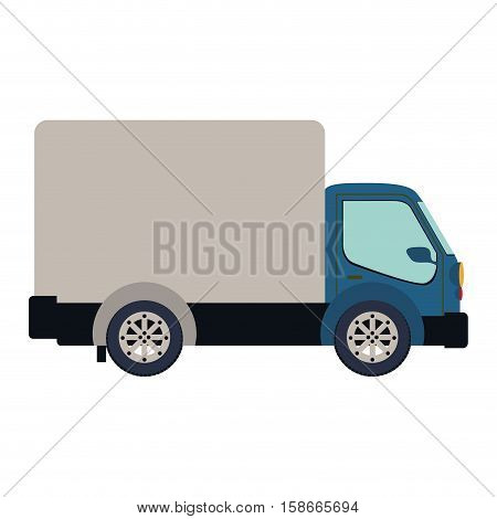 colorful silhouette truck with wagon vector illustration
