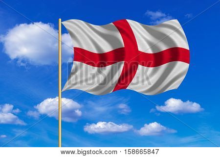 English national official flag. Patriotic symbol banner element background. Correct colors. Flag of England on flagpole waving in the wind blue sky background. Fabric texture. 3D rendered illustration