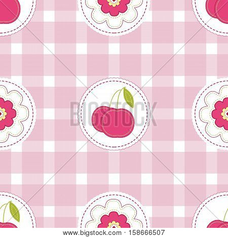 Floral background with cherry. Seamless Easter vector pattern for cushion pillow bandanna silk kerchief or shawl fabric print. Texture for clothes bedclothes