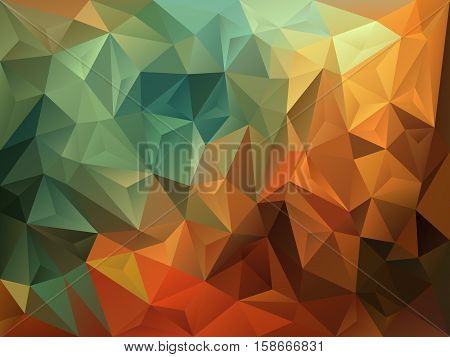 vector abstract irregular polygon background with a triangle pattern in vintage autumnal green brown and orange color