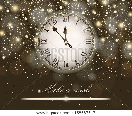 New Year And Christmas Concept With Vintage Clock Gold Style. Vector Illustration