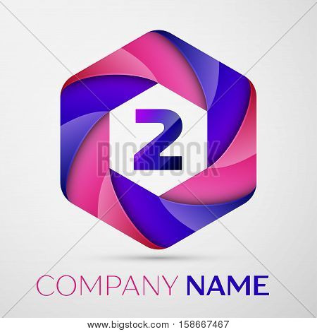 Two number colorful logo in the hexagonal on black background. Vector template for your design
