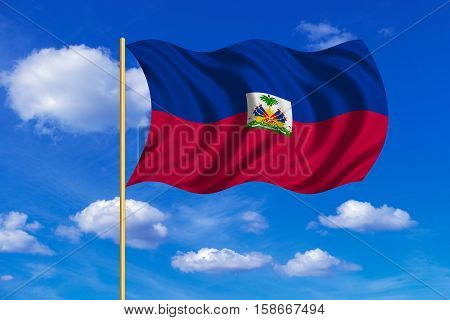 Haitian national official flag. Patriotic symbol banner element background. Correct colors. Flag of Haiti on flagpole waving in the wind blue sky background. Fabric texture. 3D rendered illustration