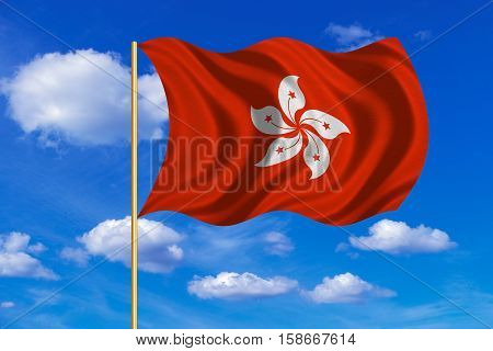 Hong Kongese official flag. Patriotic chinese symbol banner. Hong Kong is special region of PRC. Correct colors. Flag of Hong Kong on flagpole waving in the wind blue sky background. Fabric texture. 3D rendered illustration