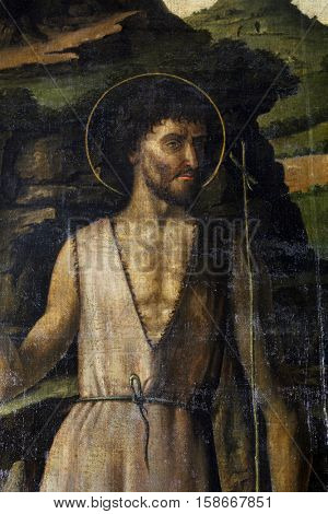 TROGIR, CROATIA - DECEMBER 12: Gentile Bellini: Saint John the Baptist, Altarpiece in Cathedral of Saint Lawrence in Trogir, Croatia on December 12, 2011