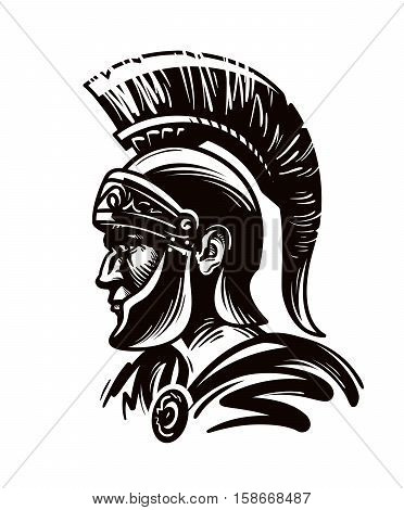 Spartan warrior, gladiator or roman soldier. Vector illustration isolated on white background