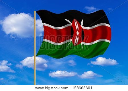Kenyan national official flag. African patriotic symbol banner element background. Correct colors. Flag of Kenya on flagpole waving in the wind blue sky background. Fabric texture. 3D rendered illustration