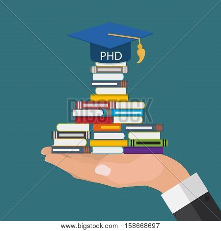 Hard and Long Way to the Doctor of Philosophy Degree PHD Vector Illustration EPS10