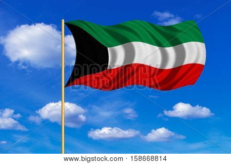 Kuwait national official flag. Patriotic symbol banner element background. Correct colors. Flag of Kuwait on flagpole waving in the wind blue sky background. Fabric texture. 3D rendered illustration