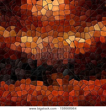 colored abstract marble irregular plastic stony mosaic pattern texture background with black grout - dark brown orange beige colors