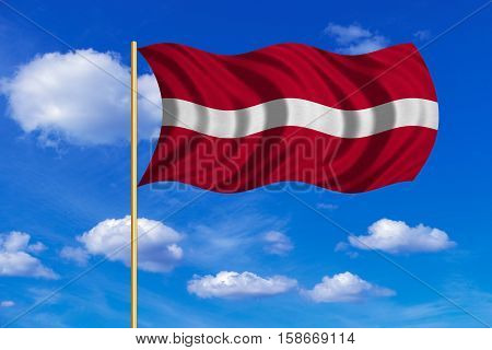 Latvian national official flag. Patriotic symbol banner element background. Correct colors. Flag of Latvia on flagpole waving in the wind blue sky background. Fabric texture. 3D rendered illustration